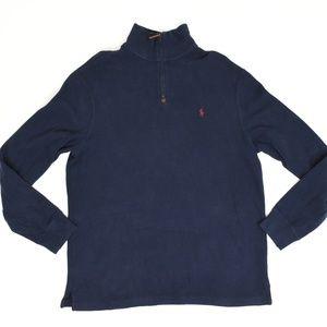 Ralph Lauren Regular L Blue   1/4 Zip Sweater Cott